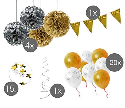 TK Gruppe Timo Klingler XXL Deko Dekoration Tischdeko mit über 100 Set Teile Kommunion Taufe Firmung Konfirmation mit Luftballons, Fische UVM. Junge & Mädchen