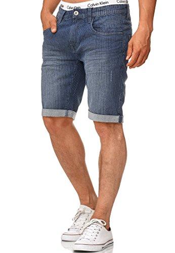 Indicode Herren Caden Jeans Shorts Kurze Denim Hose mit Destroyed-Optik aus Stretch-Material Regular Fit Indigo Blue XXL Fit Indigo Blue Jeans