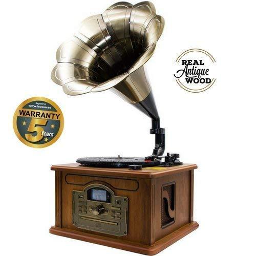 Lauson Rétro Bluetooth Gramophone avec Fonction d'encodage, Vintage Wood Trumpet Turntable avec Haut-parleurs intégrés, Radio, CD, USB, MP3, 3 Vitesses (33/45/78 RPM), CL147
