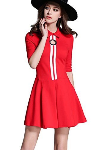 Damen elegante Halbarm Vertrag Farbe Swing Partykleid Red