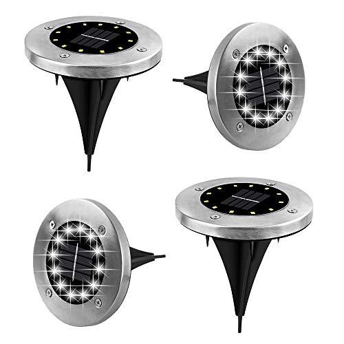 Solarleuchten Garten, 4 Stück LED Solarleuchten Bodenleuchte 12 LED Solar Leucht außen Solarleuchte Wasserdichte Solar Bodenstrahler Edelstahl Garten Landschaftslichter, Weißes Licht