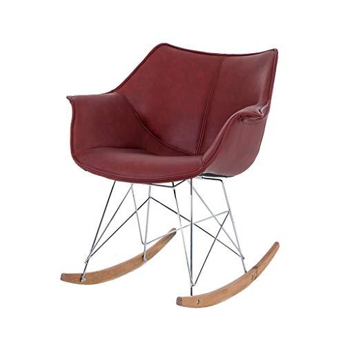 HYYTY-Y Schaukelstuhl Terrasse, Edelstahl-Armlehnstuhl Aus Massivem Holz - Leder/Flanell 617-YY (Color : Leather-red) -