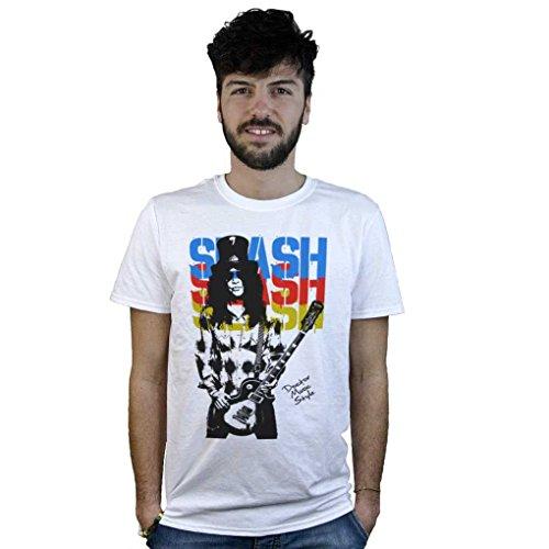 T-Shirt Slash Guns'n'Roses, maglietta bianca con disegno musica Hard Rock