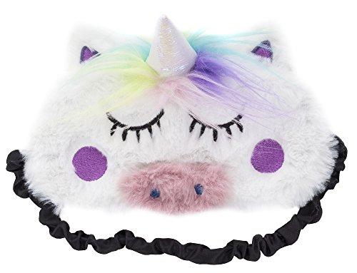 Fringoo - Máscara de dormir de felpa suave y bonita 3D, diseño de unicornio de viaje, máscara de meditación para ojos, ligera, parche para dormir