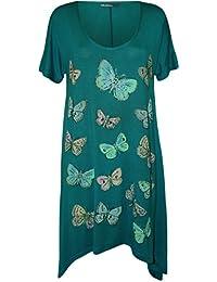 Plus Size Womens Butterfly Print Short Sleeve Ladies Hanky Hem T-Shirt Top - 14-28
