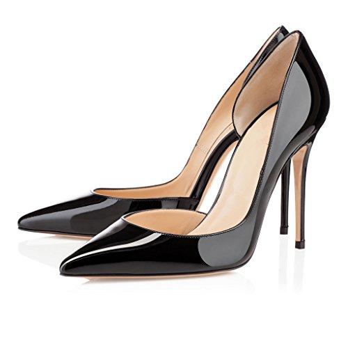 EDEFS Damen Stilettos High Heels Übergröße Damenschuhe Spitze Zehen Zwei Stücke Lackleder Pumps für Partei und Club Schwarz