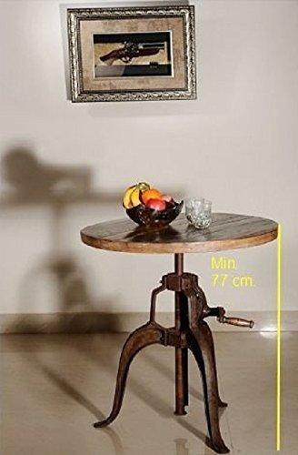 Table d'appoint ronde Ø 75 cm - Fer et bois massif recyclé laqué (multicolore) - INDUSTRIAL #21