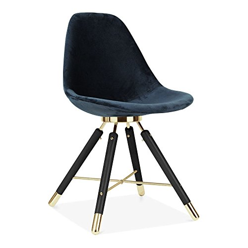 Cult Design Velvet Gepolsterter Esszimmerstuhl, Blau