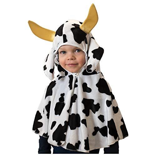 Kinderkostüm Kuh oder Dalmatiner Cape Umhang mit Kapuze Gr. 92, 98 Tier Kleinkind Fasching (98, Kuh) (Dalmatiner Kostüm Kleinkind)