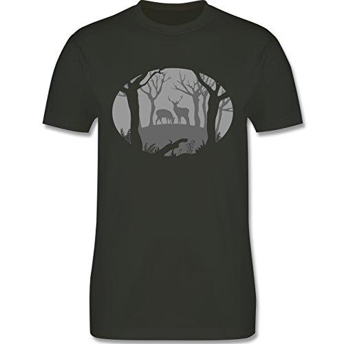 Wildnis - Hirsche - Herren Premium T-Shirt Army Grün