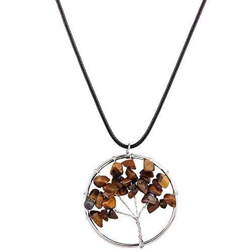 Young & Forever D'vine Amulet Tree of Life Healing Crystal Pendant Tiger's Eye Crystal Necklace Gemstone Chakra Jewelry Mothers Day Gift (Tiger's Eye) diwali Gift special