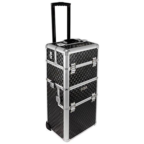 Preisvergleich Produktbild anndora Trolley 2 Rad Pilotenkoffer schwarz Alu Rahmen Koffer Beauty Case