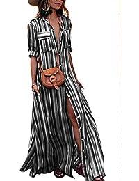 Vestiti a Righe Donna Vintage 3 4 Manica Camicie Kaftan Elegante Abito  Scollo a V be95578d20e