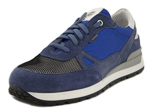 Exton, scarpe uomo casual sneaker in camoscio e tessuto tecnico blu, plantare estraibile, 993