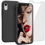 JASBON Coque pour iPhone XR Coque Silicone Liquide avec Protecteur d'écran Gratuit, Housse Etui de Protection Anti Choc Gel Case pour iPhone XR – Noir