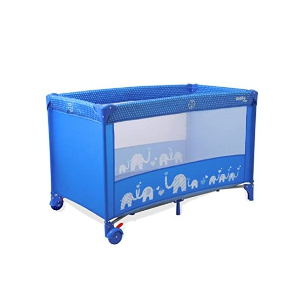 Asalvo 15372 Travel Cot Baleares Elephants Blue, Multi-Colour Asalvo Safe, comfortable and practical Solid design and padded base Double security closure 1