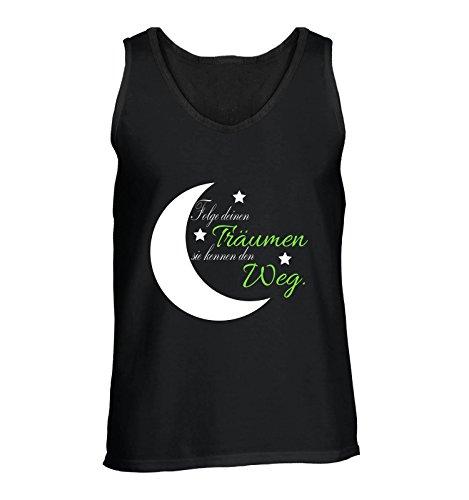 Comedy-Shirts Folge deinen Träumen sie kennen den Weg. - Herren Tank-Top - Schwarz/Weiss-Neongrün Gr. XL (Träume Tank Gestrickte)