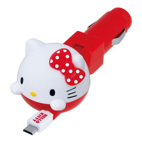 Seiwa für KFZ Ladegerät Hello Kitty Spule Ladegerät Micro USB 1,0A Output weiß rot KT463 (Ladegerät Kitty Hello)