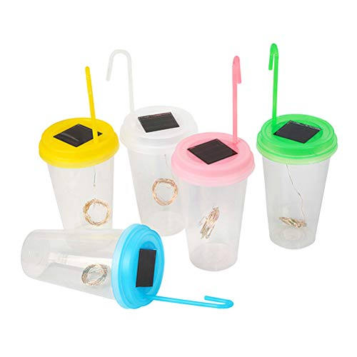 Mobestech 5 STÜCKE Solar Led Lichter Milch Tee Tasse Form LED Hängen Getränk Tasse Laternen Tasse Lichter Glas Nachtlichter Dekor Geschenk (Flaschenverschlüsse Milch Glas)