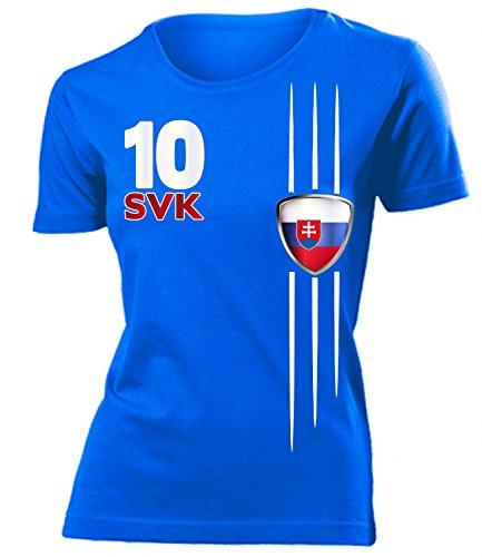 Slowakei Flagge T-shirt (Slowakei 3337 Fussball Fanshirt Fan Shirt Tshirt Fanartikel Artikel Frauen Damen T-Shirts Blau S)