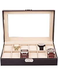 TRESKO® Caja para 12 de Relojes organizador de relojes caja relojero estuche relojero para almacenar