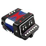 Qewmsg 1 STÜCK Mini Kinder Akkordeon 7-Key Educational Kinder Praxis Musikinstrument