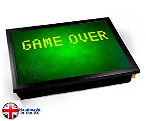 Game Over Green Game Gaming Geek Nerd Cushion Lap Tray Plateau avec Coussin