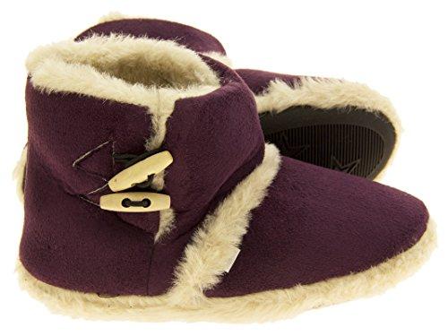 ... Donna Dispositivi di raffreddamento caldo faux inverno pelliccia  foderata stivali ginocchiera pantofola Prugna ...