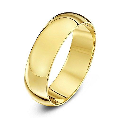 Theia Unisex Ehering 14 Karat Gelbgold, Sehr massive D-Form, poliert, 6mm - Größe 58 (18.5)