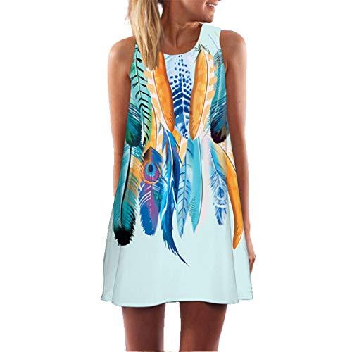 XuxMim Damen Sommerkleid ohne ärmel Knielang Strandkleid Elegant Partykleid cocktailkleid Spitze Druck A-Linie (Ebay Frozen Kostüm)