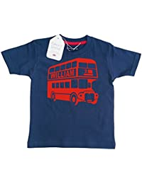 Edward Sinclair Personalised Classic Bus with Name and Number' Children's T-Shirt (Please Go to ADD Gift Options.…Enter Name & Number…and Save)
