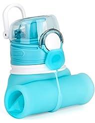 ValourGo Botella de Agua Plegable con Válvula a Prueba de Fugas – Cantimplora Reutilizable y Flexible – Botella de Agua de Silicona Sin BPA para Deportes Viajes Camping Bicicleta 600ml (azul aguamarina)