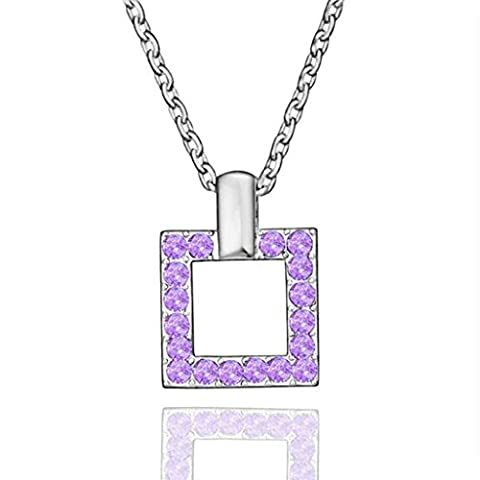AMDXD Jewelry Gold Plated Women Pendant Necklace Purple Silver Square CZ,Gift for Girls