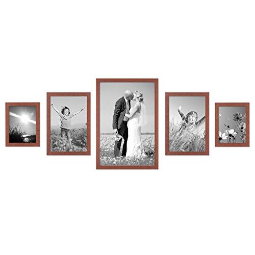 PHOTOLINI 5er Set Bilderrahmen 15x20, 20x30 und 30x45 cm Kirsche Modern Massivholz-Rahmen mit Glasscheibe inkl. Zubehör/Fotorahmen - Kirsche Rahmen