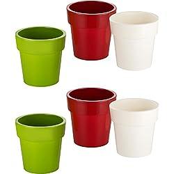 Kigima Blumentöpfe 6er Set grün/rot/weiß Durchmesser 12cm