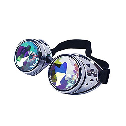 shoperama Steampunk Goggles mit Prisma Kaleidoskop Brille Burning Man Dornen, Farbe:Silber ohne Spikes