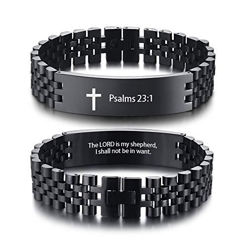XUANPAI Männer Edelstahl Jesus Kreuz Christian Lord Gebet Bibel Vers Armband Religion Armband Stil 7 (Pearl-kreuz-armband)