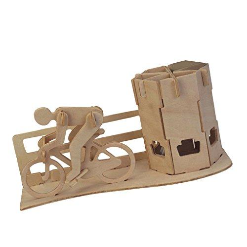Gazechimp Kreative DIY 3D-Holz-Puzzle / Baby Pädagogisches Spielzeug / verbessert Hand-Augen Koordination von Kindern / Idea auch als Geschenk - Rennrad Federbehälter