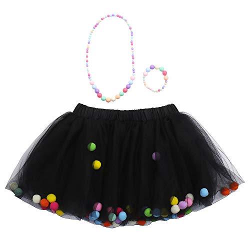 WOZOW Kinder Tüllrock Einfarbig Fellknäuel Kunstpelzball Kurz Kleider Tanzkleid Halloween Weihnachten Karneval Fasching Röckchen Mädchen Minirock (Hip Hop Tanz Kostüm Für Jugendliche)