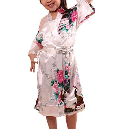 Laixing Haute Qualité Lovely Wedding Flower Girls Satin Sleepwear For Kids Dress Gown CL-G01 white