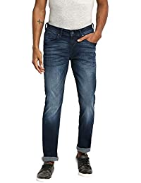 RUF & TUF Solid Navy Blue Coloured Cotton Blend Jeans