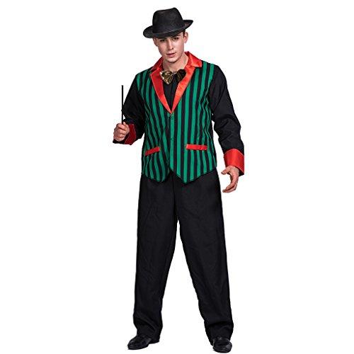 EraSpooky Herren Magier Kostüm 3tlg.Mantel, Hut und Bowtie für Fasching Karneval