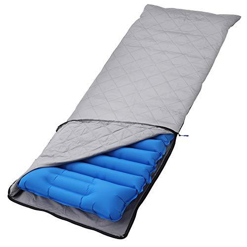 SONGMICS Isomatte, aufblasbare Isomatte mit integriertem Kissen und Stoffbezug, Luftsack zum Aufpumpen, Mobile Schlafunterlage, Reisen, Camping, Hängematte, Wandern, blau GSP03BUZ