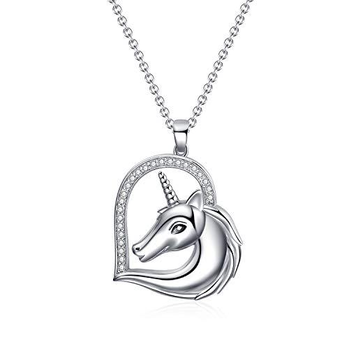 WINNICACA S925 - Collar con colgante de unicornio de plata de ley para mujeres y niñas, cadena larga de 45 + 2,5 cm