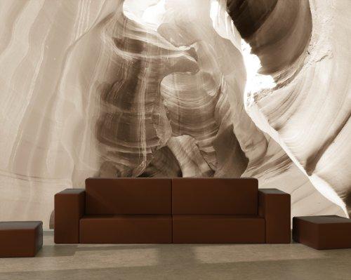 Vlies Fototapete - Antelope Canyon - Arizona USA II - sephia - sepia - 230x150 cm - inklusive Kleister - Tapetenkleister – Bild auf Tapete – Bildtapete – Foto auf Tapeten – Wand – Wandtapete – Vliestapete – Wanddeko - Design (Sandstein-wand-beleuchtung)