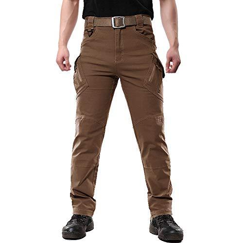 FEDTOSING Cargohose Herren Vintage mit Stretch Outdoor Tactical Hosen Militär Viele Taschen Leichte Baumwolle Arbeitshose(Braun L)