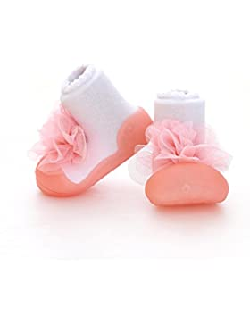 Attipas New Corsage Pink - ergonomische Baby Lauflernschuhe, atmungsaktive Kinder Hausschuhe ABS Socken Babyschuhe...