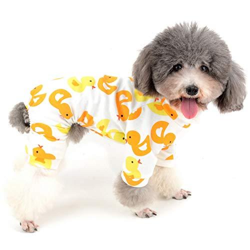 Zunea Schlafanzug für kleine Hunde, mit Donut-Banana-Motiv, mit Enten-Fußball-Muster, Unisex, Vier Beinen, Schlafanzug aus Baumwolle Unisex-ente