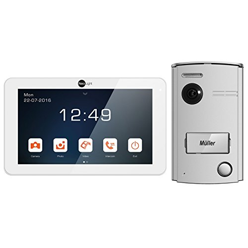 NeoLight Video-Türsprechanlage Porta 7  Touchscreen 7 Zoll Monitor  HD-Display  2-Draht-Technik  120° Weitwinkel-Türstation