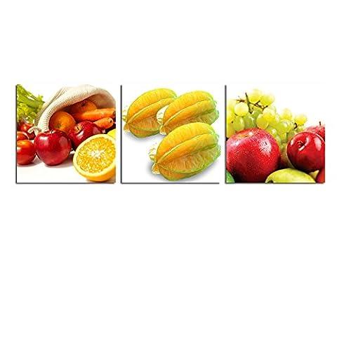 wonzom 3 pièces/set entièrement encadrée prêt à accrocher à carreaux impression sur toile Photo pour décoration de cuisine Fruits 30 x 30cm, A (Stretched and Framed)